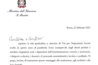 Lettera del Ministro dell'Istruzione, prof. Patrizio Bianchi